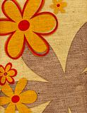 Flower Background on Burlap