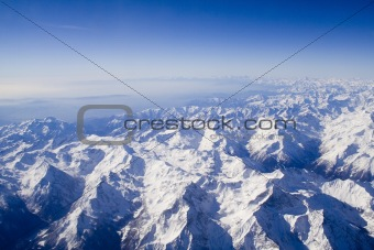 Breathtaking snowy Swiss mountains landscape