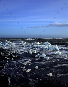 Icebergs and rough sea