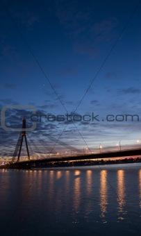 Riga Vansu Bridge At Night