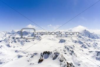 Breathtaking snowy Swiss mountains landscape
