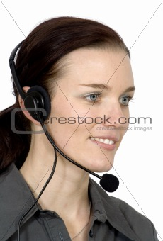 customer services girl smiling