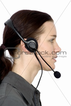 customer services girl from the side