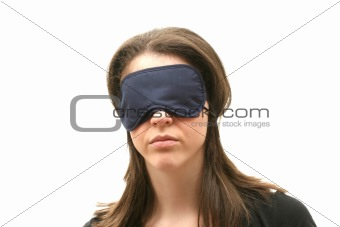 Woman wearing a blindfold