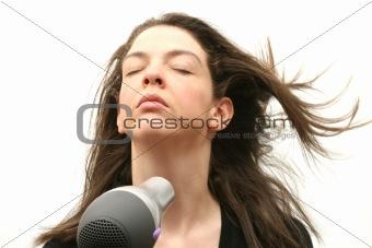 Blowing hairdryer