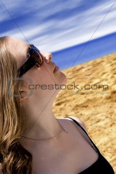 beautiful woman by the beach
