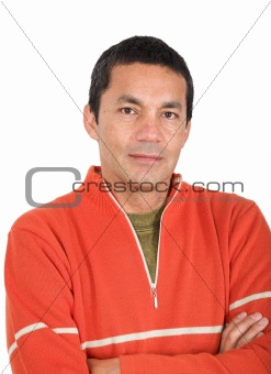 casual guy in orange