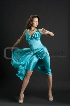 The girl in the turquoise dress
