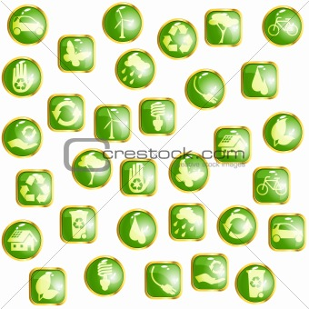 Green High-gloss eco buttons