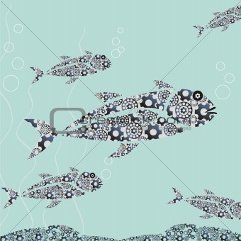 fishes from metal details