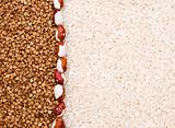 Buckwheat and rice background