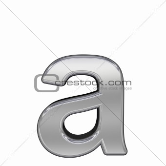 One lower case letter from chrome alphabet set, isolated on white.