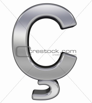 One letter from chrome alphabet set, isolated on white.