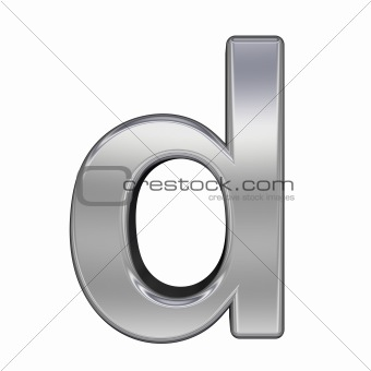One lower case letter from chrome alphabet set, isolated on white