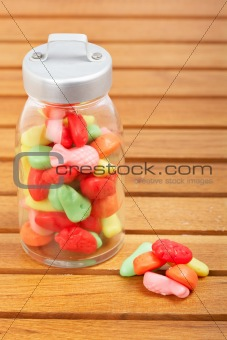 Candies in the glass jar