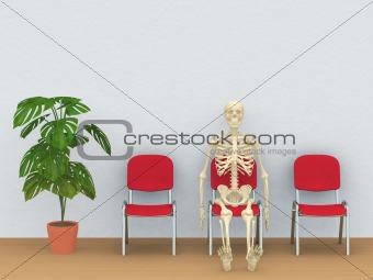 skeleton in a waiting room