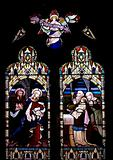 Stained glass in the church in Beaumaris
