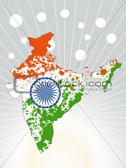 grunge indian map, vector