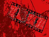 grunge movie stripe on red background
