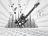 guitar with flying music tone and graph on gray background, wallpaper