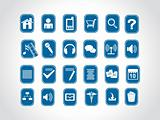 icons on blue background