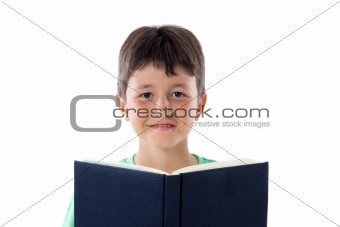 Adorable child reading a book