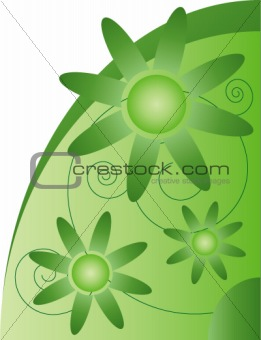 Abstract vector composition, green flowers on white backgroung