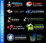 Set of 10 design elements