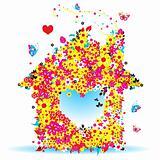Floral house, vector illustration for your design