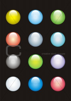 12 glass buttons of different colours