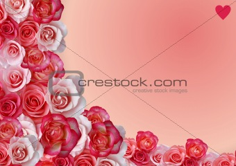 Abstract border, flowers, roses background