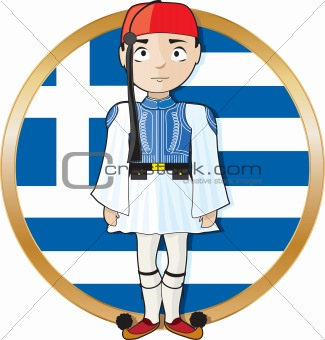 Greek Evzone with Flag