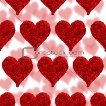 Valentine card, hearts red background
