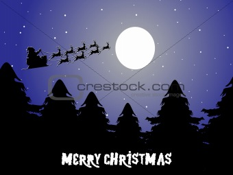 background with santa sleigh driven by reindeers