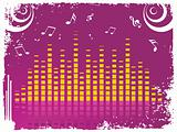 vector illustration, musical background with graph