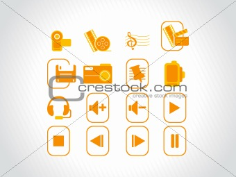 web icons, orange stamp series
