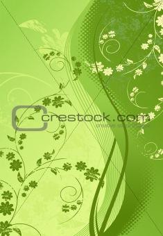 Green Floral-grunge illustration