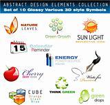 Glossy 3D set of design Elements