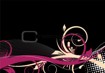black/pink floral background