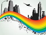 abstract business concept with rainbow