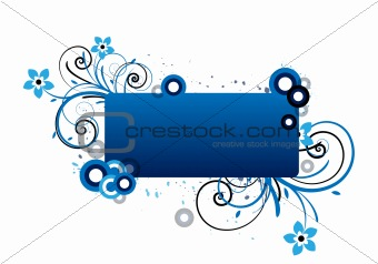 blue text frame with floral design