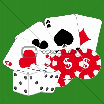 Cards, chips and dice on green background