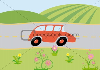 Green view with cartoon car