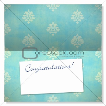 Celebration greeting card with damask pattern and label