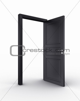 Open black door