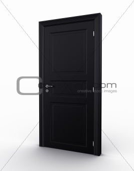 Closed black door