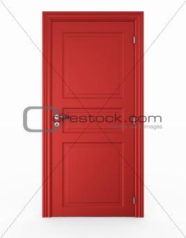 Closed red door