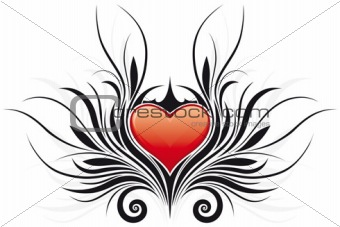 Abstract Valentine's Day Heart tatto