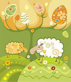 two funny decorative sheeps