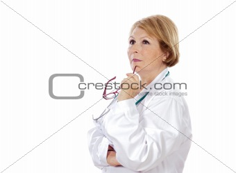 Female doctor thinking